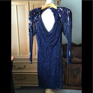 LILLIE RUBIN BLUE SEQUIN BEADED COCKTAIL DRESS